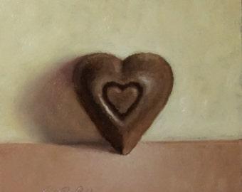 Original Oil Painting, Chocolate Heart