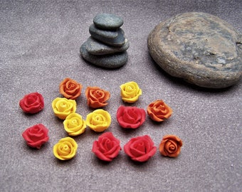 Flowers: 14 mini roses - 3 colors in cold porcelain