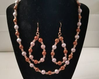 """16"""" Beaded Necklace and Earring Set"""