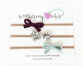 Baby Girl Gift, Mini Bow Headband Set, Baby Headband Set