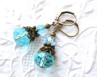 sea blue victorian dangle earrings turquoise earrings sea blue jewelry dangle earrings turquoise and bronze victorian earrings