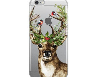 Deer iPhone 7 Case, Holiday iPhone 6s Case, Transparent iPhone 6 Case, iPhone x case, iPhone 8 Case, iPhone 6 Plus, Christmas Phone Case