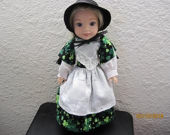 St Patricks Day gown fits Wellie Wisher dolls. My own design