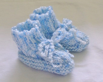 Baby Booties Newborn Baby Boy Booties Hand Knitted Blue and White