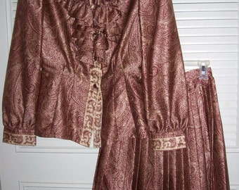 Vintage Victor Costa Two Pieced Paisley Shimmer Holiday Dress Size 4 -  6