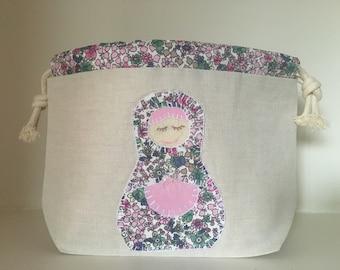 Sock knitting / crochet project bag - Appliqué - Russian doll - Katiya