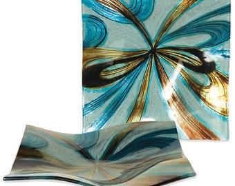 "Handcrafted Art Glass Plate - Cozenza Glassware - Infinite Swirls 8"" Square Plate"