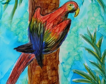 Parrot painting Alcohol ink original 5x7 in turq and black acid free mat