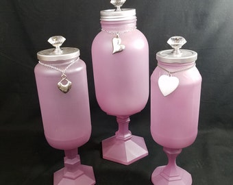 Pink Sea Glass Colored Upcycled Glass Jars Apothecary Metal Heart Charms Metal Knobs