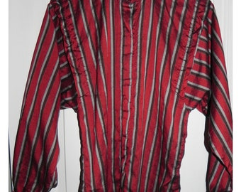 80s Vintage Striped Blouse Batwing Sleeves Burgundy Shirt Made in Thailand