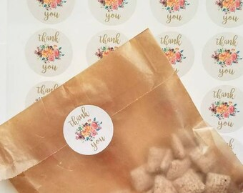 Floral thank you stickers, fall floral thank you stickers, thank you tags,