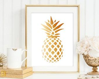 Golden Pineapple Art Print, Artwork, Golden Modern Minimalist Art, Summer Fashion, Pineapple Home Office Wall Decor, 5x7, 8X10, 11x14 print