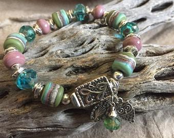 COOL SERENITY, artisan lampwork and sterling silver bracelet
