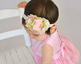 Pink gold 1st headband - Pink Gold #1 headband - First birthday headband - First Birthday girl -  Pink and gold first birthday headband