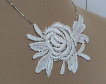 Ivory lace piece necklace