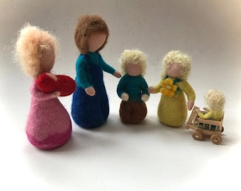 Wet Felted Family.Hand-felted. Waldorf.Scene.Felted Doll.Doll,Puppet.