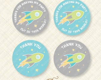 Outer Space Party Favor Tags Printable Thank You Round Circle Tag rocket ship galaxy star instant download pdf treat bag digital