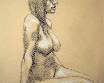 "Female Figure Drawing - Seated Nude Female Figure - original drawing, graphite and pastel on toned paper, 8x12 ""Brynn 1"""