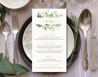 printable wedding menu card wedding menu template green wedding menu modern greenery rustic wedding menu cards watercolor leafy greens ITW