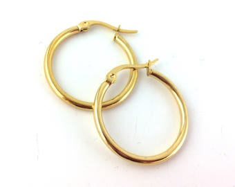 2pcs / 12pcs Gold Hoop Earring Findings - 1inch 1 inch Hoops - Leverback Hoops -Gold Plated Round Hoop Ear Wires Wholesale Gold Hoop