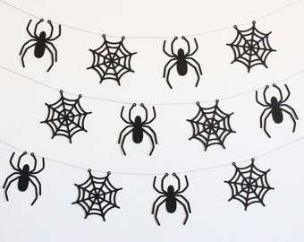 Spider and Spiderweb Halloween Party Banner - Customizable Colors