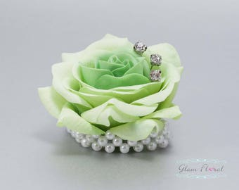 Child's Wrist Corsage. Small Light Green Rose w. rhinestones, pearls.  Flower girl bracelet. Father Daughter Dance. Tea Rose Collection