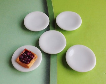 5Miniature Plate,Ceramic Plate Miniature,Miniature food Plate,Dollhouse Plate,Small Plate,Dollhouse tray,Miniature tray,DIY,Dollhouse