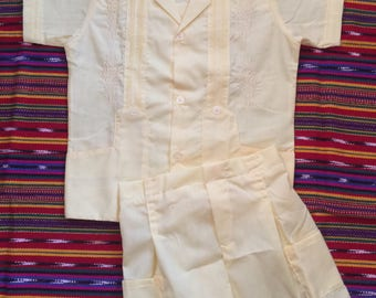 Beautiful Boys Mexican  Guayabera with shorts.