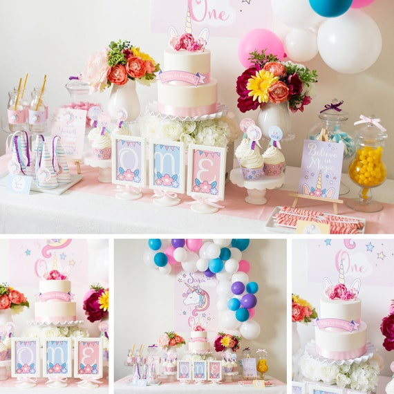 DIGITAL FILES Unicorn Party Decorations Unicorn Birthday