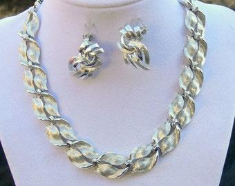 lisner silvertone necklace and Coro silvertone clip earrings