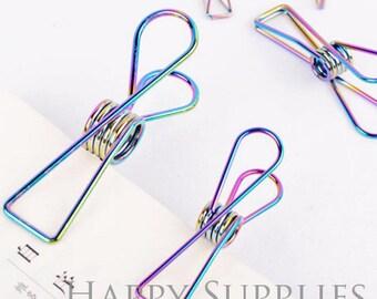 4pcs Fishtail Clip, Rainbow Color Binder Clip / 3 Size to Choose
