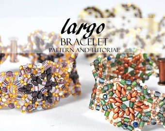 Beaded Bracelet Pattern Tutorial Largo Featuring Mini Duo Beads Hex Firepolished and Other Seed Beads