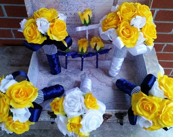 White rose bouquet etsy yellow rose bouquet 17 piece wedding package yellow white bouquet yellow navy bouquet yellow white rose bouquet yellow navy wedding mightylinksfo
