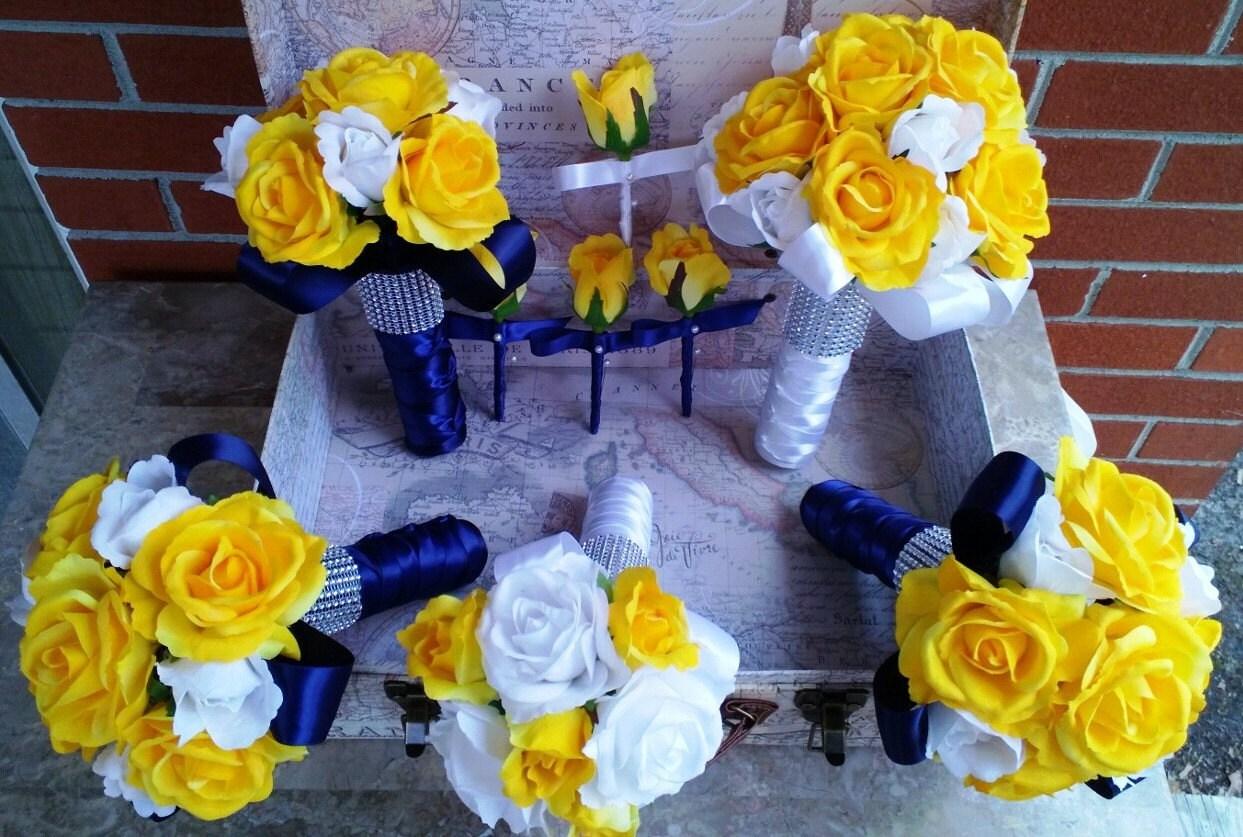 Yellow rose bouquet 17 piece wedding package yellow white zoom izmirmasajfo
