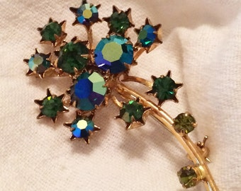 Aurora Borealis Firework Goldtone Brooch Pin Marked Austria