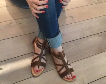 Sandali per le donne, spedizione gratuita negli Stati Uniti, greco fatti a mano in pelle sandali, sandali alla caviglia strappy, piatto, marrone antico femminile, Dimitra