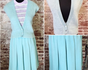 1970s Vintage Wool Vest and Skirt. 60s Womens Suit. Two Piece Vintage Set