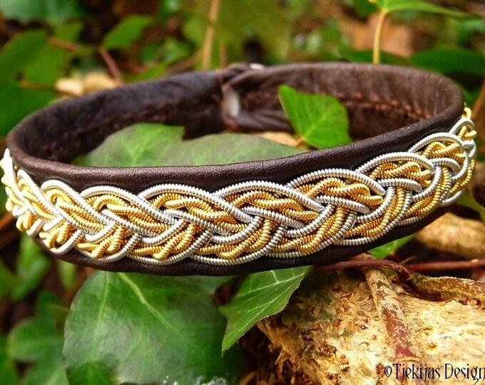 Sami Bracelet, Viking Leather Cuff, VIMUR Two Tone Wristband, Handmade 14K Gold and Pewter Braid on Reindeer or Lambskin