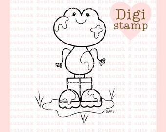 Muddy Mess Frog Digital Stamp - Frog Digital Stamp - Digital Frog Stamp - Frog Art - Frog Card Supply - Frog Craft Supply