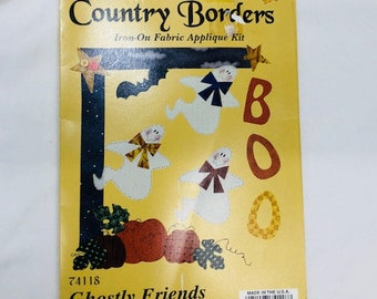 Vintage Harvest Country Borders Iron On Fabric Appliqué Kit. Ghostly Friends Halloween Kit by What's New LTD