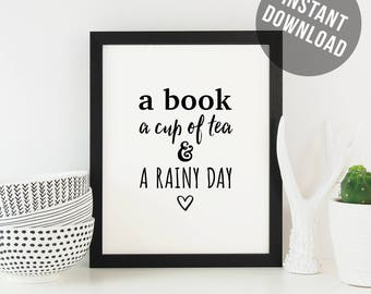 Bookishness and tea, a book a cup of tea, bookish gift, reading nook, bibliophile, bookworm, reading lovers gift, bookworm art print.