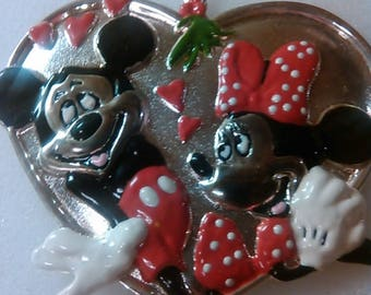 Vintage Lenox Disney Mickey Minnie Mouse Heart Metal Christmas Ornament