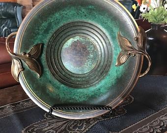 Carl Sorensen Bowl, Verdigris Patina, Copper and Bronze, Decorative Leaf Handles, Arts and Crafts, Art Deco, Antique, Vintage, 1920's
