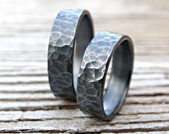 black silver wedding bands, matching rings for him and her, his and hers promise rings, hammered rings silver, matching wedding rings silver