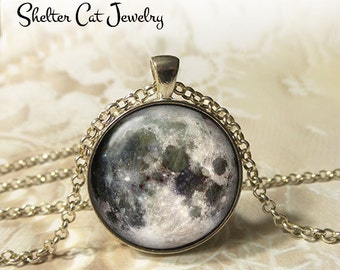 """Full Moon Necklace - 1-1/4"""" Circle Pendant or Key Ring - Wearable Art Photo - Celestial, Galaxy, Solar System, Space, Universe, Gift"""