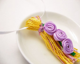 Purple Ribbon Roses on Yellow and Purple Beaded Tassel Spring Easter Wedding Ornament Gift Decoration Favor