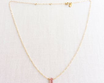 Pink Tourmaline Necklace, Tourmaline Necklace Gold, 14k Tourmaline Necklace, Pink Crystal Necklace, Pink Tourmaline, Tourmaline, GN66