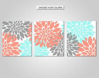 Dahlia Flower Burst Wall Art - Dahlia Wall Decor - Dahlia Flower Burst, Coral, Aqua, Grey - Flower Wall Art - Prints - Canvas - Printable