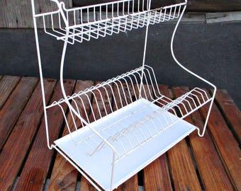 Vintage kitchen dish draining rack/wire for dryer dishes/organizer for utensils