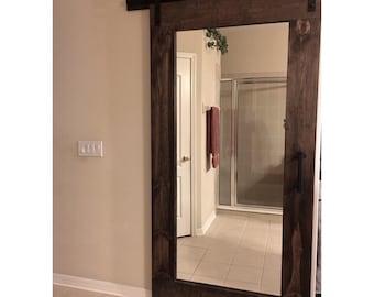 Barn door mirror etsy reclaim rustic framed mirror sliding barn door by rustic luxe planetlyrics Images